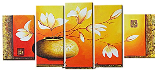 Treasure Art Hand Painted Oil Painting Gift Flowers in Pot 5 Panels Wood Inside Framed Hanging Wall Decoration