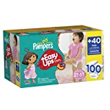 Pampers Easy Ups Trainers, Value Pack, Girl, Size 4 S2T/3T, 100 Count