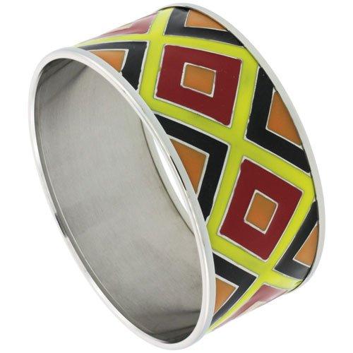Stainless Steel Slip-On Bangle Bracelet w/ Multi Color (Red, Yellow, Black & Orange) Argyle Pattern, (30 mm) wide, 62mm Diameter