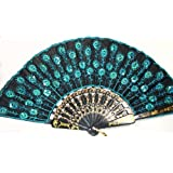 Leegoal Peacock Pattern Sequin Fabric Hand Fan Decorative Fashionable