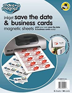 MagnaCard Save the Date and Business Cards, 30 Cards, White, 9 x 12 x 0.1 inches  (PMBC805113)