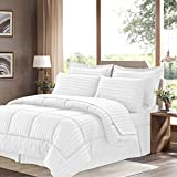 Sweet Home Collection 8 Piece Bed In A Bag With Dobby Stripe Comforter, Sheet Set, Bed Skirt, And Sham Set - Queen... - B01A1GDKVI