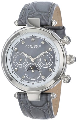 Akribos Xxiv Women'S Ak441Gy Stainless Steel Diamond-Accented Watch With Grey Leather Band