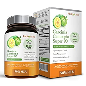 90% HCA Pure Garcinia Cambogia Extract - 90 Count (30 Day Supply) - Superior Dietary Supplement and Weight Loss Aid - Natural Appetite Suppressant, Carb Blocker, Diuretic and Weight Loss Supplement Formula - Made in the USA; 100% Money Back Guarantee