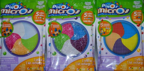 Pixos Micros Mini Beads Refill Bundle with Crystal Glitter and Fusion 3,000 Count and 48 Accessories
