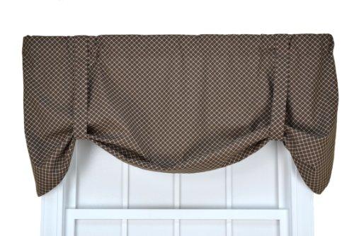 Tyvek Small Scale Diamond Tie Up Valance Window Curtain, Brown