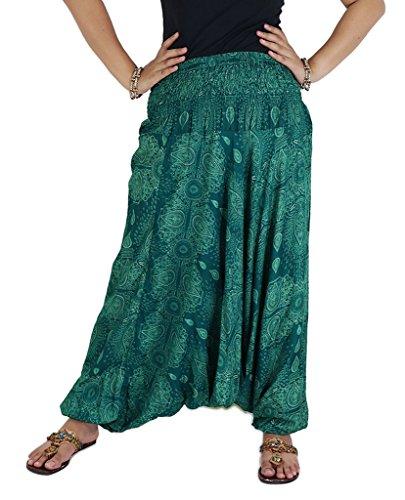 AuthenticAsia-Acqua goccia Collection- Super Soft Loose JINNIE Harem pantaloni e tuta WTD-06_Teal Green Taglia unica