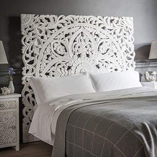 "Queen Size Boho Carved Wood Bed Headboard, Hand Sculpted Wall Art Hanging From Chiang Mai, Thailand. 59""W x 59""H"