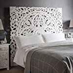"""Queen Size Boho Carved Wood Bed Headboard, Hand Sculpted Wall Art Hanging From Chiang Mai, Thailand. 59""""W x 59""""H"""