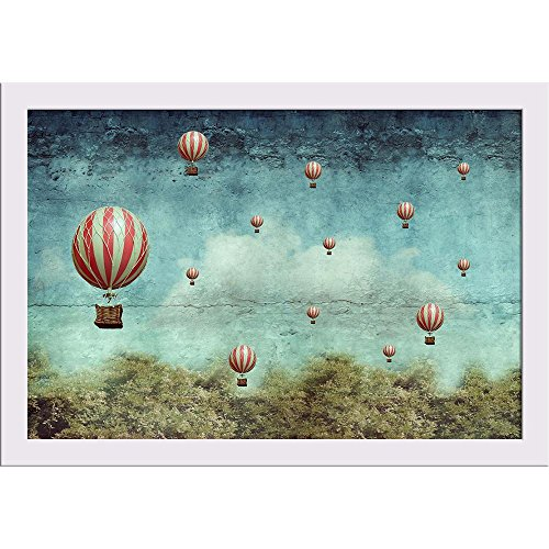 ArtzFolio Hot Air Balloons Flying Over A Forest - Medium Size 18.0 inch x 12.0 inch - FRAMED PREMIUM PAPER POSTER Wall Artwork fitted with CLEAR ACRYLIC GLASS FRONT : BEAUTIFUL INTERIOR Home Décor Photo Gifts & Decorative Paintings for Bedroom, Living, Dr