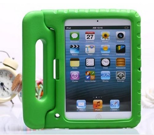 Carry360 Kids Safe Shock Proof Thick Foam Case Handle Stand For Ipad 2/3/4 With Handle(Color Green)