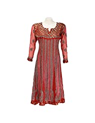 Mannmohini Chikan Women Georgette Red Chikankari Regular Fit Kurti (Size : 42)