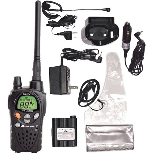 Brand New Midland Marine Radio With Holder, Mounting Hardware, Chargers And Microphone Headset