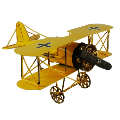 New Yellow 12'' Vintage German Fokker D.VII WWI Fighter Jet Aircarft Model Prop
