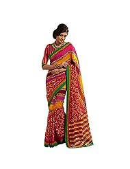 Indin Beautiful Multi Colored Printed Bhagalpuri Khadi Silk Saree By Triveni