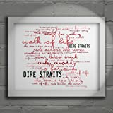 `Zephyr` Art Print - DIRE STRAITS - Brothers in Arms - Signed & Numbered Limited Edition Typography Wall Art Print - Song Lyrics Mini Poster