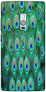 Snoogg Peacock Pattern 2 Designer Protective Back Case Cover For One Plus Two