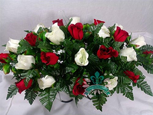 XL Red & White Roses Silk Flower Cemetery Tombstone Saddle Arrangement.