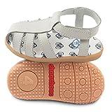 ShooShoos - Zapatitos de piel suela dura, sandalias gris, 22