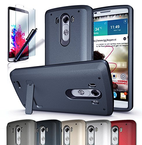 LG G3 case,CINEYO(TM) heavy Duty Rugged Hybrid Tri Layer Armor Case with Kickstand (LG G3 Black) (Midnight Blue) (Lg G3 Phone Case With Kickstand compare prices)