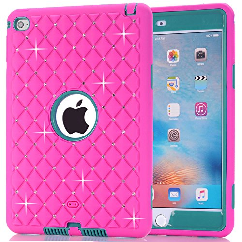 iPad Mini 4 Case, Speedup Diamond Studded Crystal Rhinestone 3 in 1 Bling Hybrid Shockproof Cover Silicone and Hard PC Case For Apple 7.9 inch iPad Mini4 (Rose Red / Teal) (Ipod Touch Loop Space Gray compare prices)
