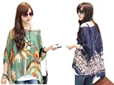 women's batwing Ladies chiffon round neck flower semi sheer top loose tunic (2 Pack (style 7+24))