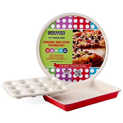 casaWare Toaster Oven 3pc Set Ceramic Coated Non-Stick (Cream/Red) (Pizza Toaster Over compare prices)