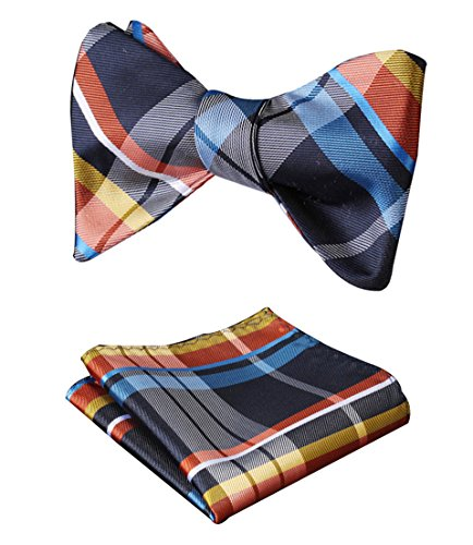 SetSense Men's Plaid Jacquard Woven Self Bow Tie Set One Size Blue / Orange (Mens Bow Ties Self Tie compare prices)