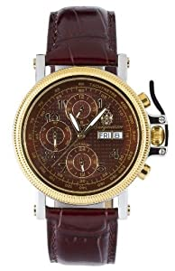 Burgmeister New York Bm104-244 Gents Automatic Analogue Wristwatch Stainless Steel Bicolor Brown Leather Strap Red Dial Day Date Month Year 24H