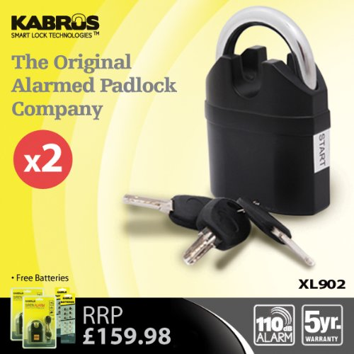 2 x Kabrus XL902 Heavy Duty High Security ALARMED Padlocks / Shipping Storage Containers Security / Caravan, Motorhome, Retail, Farm, Equestrian Saddlery Security / Multi-Purpose Heavy Duty Alarmed Locks for High Security