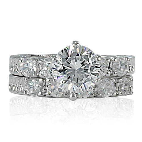 2.75ct Bridal Wedding Ring Set Platinum Plated Cubic Zirconia (9)