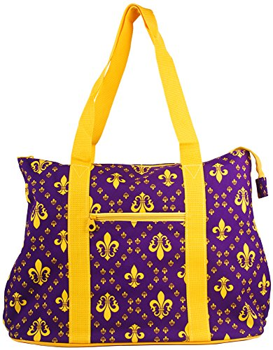 Ever Moda Purple Gold Fleur de Lis Tote Bag X-Large 21-inch