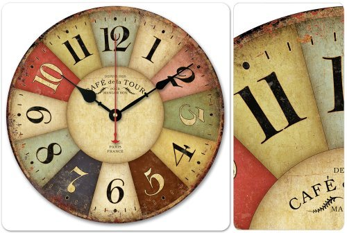 12 Vintage France Paris Colourful French Country Tuscan Style Paris Wood Wall Clock