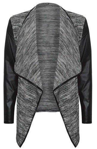 (womens grey leather sleeved waterfall cardigan (mtc) Femmes gris cuir manches cascade cardigan