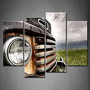 Amazon.com: Fashion Stylish 4 Panel Wall Art Old Vintage Truck On The