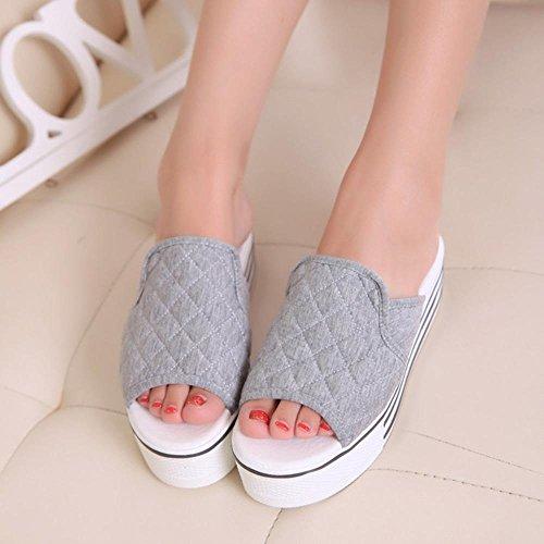 TDXIE Cunei piattaforma pantofole women high heel piattaforma sandali e ciabatte pantofole infradito 35 36 37 38 39 3 4 5 6 7 8 2 , gray , 36