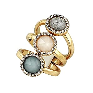 Neuste 2014 Fashion Rock Europa Stil Drei Ringe für Damen Gold Sets Schmuck Ringe