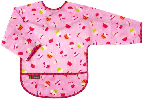 Kushies Waterproof Bib with Sleeves - Toddler Cupcake - Girl