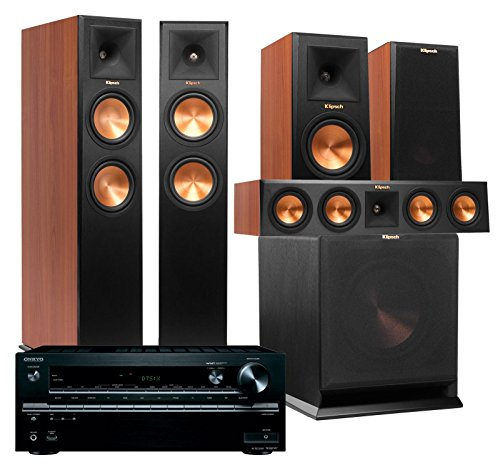 Klipsch Home Theater System Bundle (RP-260F, RP-150M, RP-440C, R-110SW) with Receiver (Onkyo TX-NR747 - Cherry)