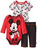 Disney Baby Baby-Boys Newborn Mickey Mouse 3 Piece Layette Set, Red, 0-3 Months