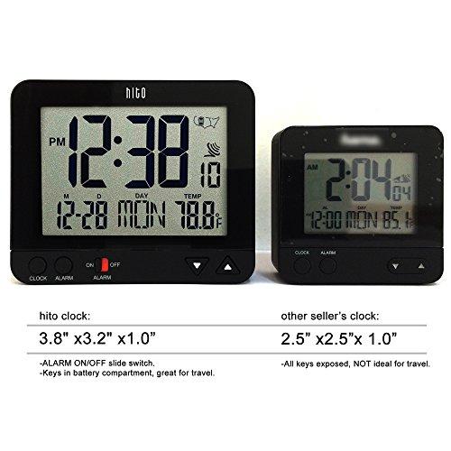 Hito Atomic Bedside Desk Travel Alarm Clock W Date Temp