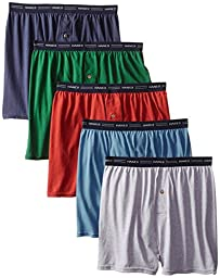 Hanes Men\'s 5-Pack Exposed Waistband Knit Boxers, Assorted, Large/36-38