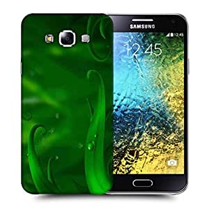 Snoogg Green Long Leaves Printed Protective Phone Back Case Cover ForSamsung Galaxy E5