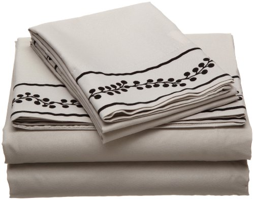 Cathay Home Fashions Luxury Silky Soft Berries Flock Microfiber King Sheet Set, Stone front-995501
