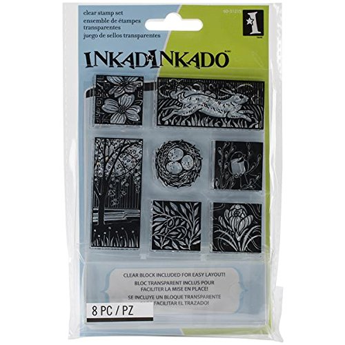 Inkadinkado Inchie Bundle Rubber Stamp, Spring