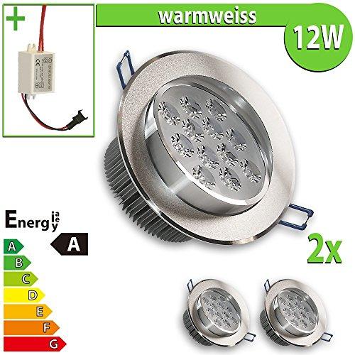 2x LED Einbaustrahler Einbauleuchte 2-er Set 12 W rund, warmweiss EBL152
