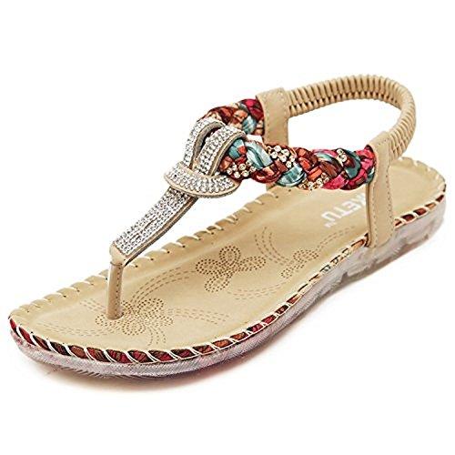 Minetom Donne Moda Estate Sandali Boemo Stile Scarpe Piatto Tacco Pantofole Nuovo Kaki 38