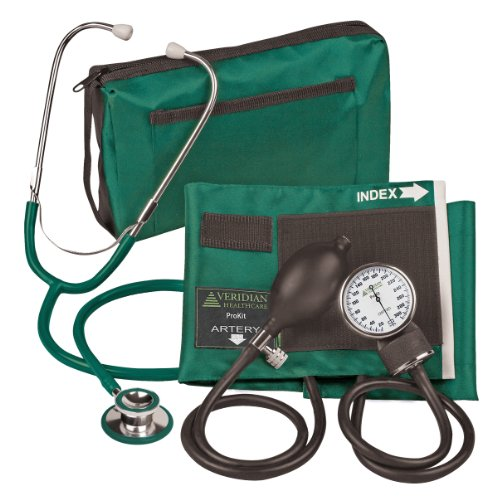 Veridian 02-12706 Aneroid Sphygmomanometer with Dual-head Stethoscope Kit, Adult, Hunter Green