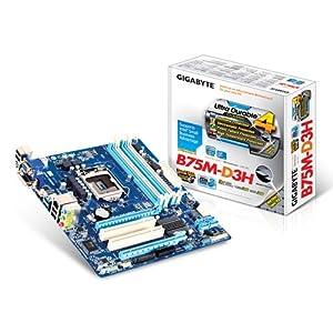 Gigabyte LGA 1155 Intel B75 SATA 6 Gb/s USB 3.0 Micro ATX DDR3 1600 Motherboards GA-B75M-D3H
