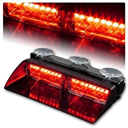 Resun 16 LED High Intensity LED Law Enforcement Emergency Hazard Warning Strobe Lights for Interior Roof / Dash / Windshield with Suction Cups (Red)